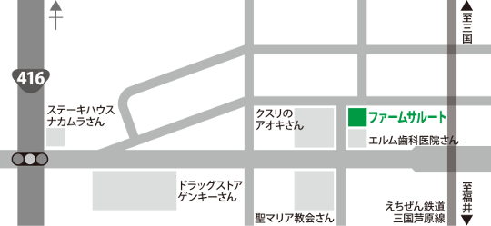 ファームサルートの店舗周辺地図です。